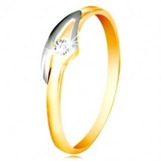 Prsteň v 14K zlate so zirkónom čírej farby, dvojfarebné ramená - Veľkosť: 48 mm
