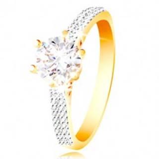 Prsteň v 14K zlate - trblietavý číry zirkón v ozdobnom kotlíku, zirkónové ramená - Veľkosť: 49 mm