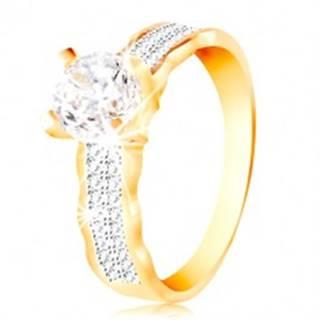 Prsteň v 14K zlate - veľký číry zirkón v kotlíku, zirkónové línie, zvlnené okraje - Veľkosť: 49 mm