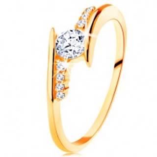 Prsteň v žltom 14K zlate - zahnuté ramená, číre zirkónové línie, okrúhly zirkón - Veľkosť: 50 mm
