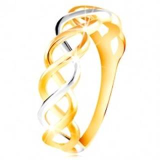 Prsteň z kombinovaného 14K zlata - prepletené dvojfarebné línie - Veľkosť: 48 mm