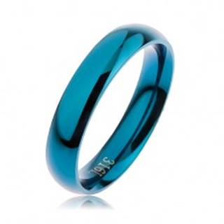 Prsteň z ocele 316L modrej farby, hladký zaoblený povrch bez vzoru, 4 mm - Veľkosť: 49 mm