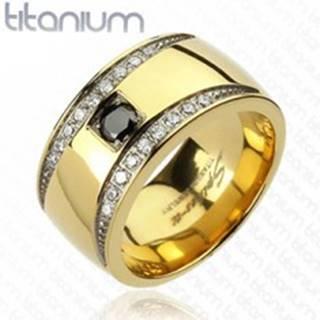 Prsteň z titánu zlatej farby so zirkónovými polmesiacmi - Veľkosť: 59 mm