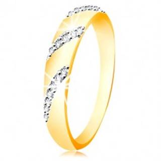 Prsteň zo 14K zlata so zaobleným povrchom a šikmými líniami zirkónov - Veľkosť: 49 mm