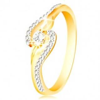 Prsteň zo 14K zlata - zahnuté konce ramien, úzke zirkónové línie a väčší zirkón - Veľkosť: 49 mm