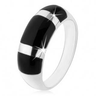 Prsteň zo striebra 925, vypuklý zaoblený povrch, čierne ónyxové obdĺžniky - Veľkosť: 48 mm