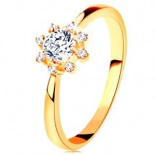 Prsteň zo žltého 14K zlata - číre ligotavé slniečko, zúžené ramená - Veľkosť: 49 mm