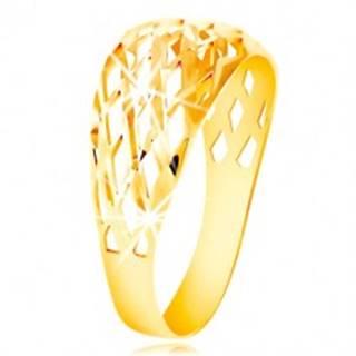 Prsteň zo žltého 14K zlata - mriežka z tenkých ligotavých línií, drobné zárezy - Veľkosť: 49 mm