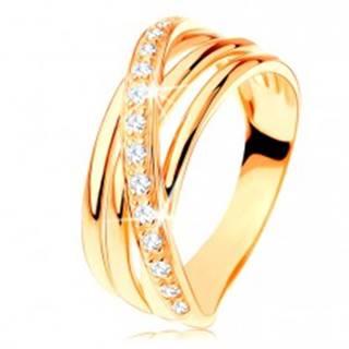 Prsteň zo žltého 14K zlata - tri hladké pásy, šikmá zirkónová línia - Veľkosť: 49 mm