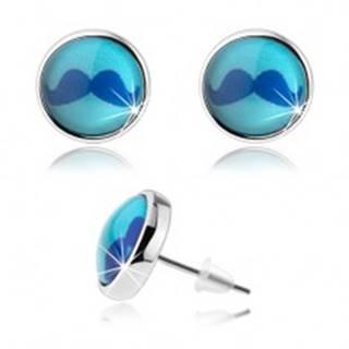 Puzetové cabochon náušnice, vypuklé sklo, obrázok modrých fúzov