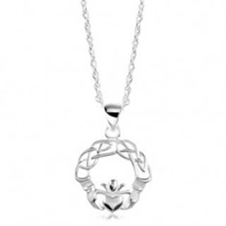 Strieborný náhrdelník 925, zapletené línie, ruky a srdce s korunou