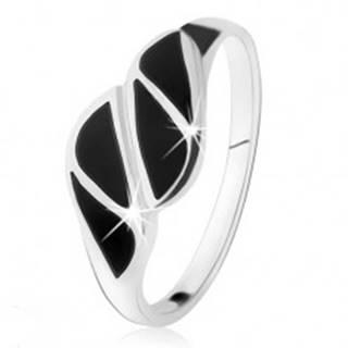 Strieborný prsteň 925, trojuholníky z čierneho ónyxu, vysoký lesk - Veľkosť: 49 mm