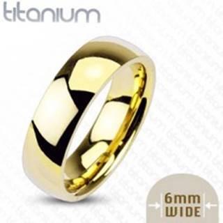 Titánová obrúčka zlatej farby, 6 mm - Veľkosť: 49 mm