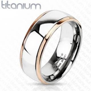 Titánový prsteň s okrajmi medenej farby a stredom striebornej farby - Veľkosť: 49 mm