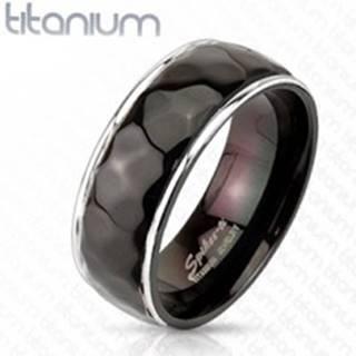 Titánový prsteň - vzor kosoštvorcov s oblými hranami - Veľkosť: 59 mm
