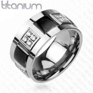 Titánový prsteň zdobený čírymi zirkónmi a čiernymi štvorcami - Veľkosť: 59 mm