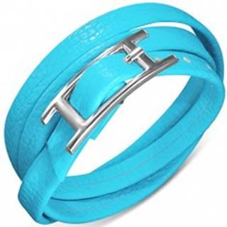 Trojitý náramok zo syntetickej kože modrej farby, zapínanie s prackou