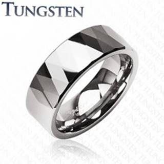 Tungstenový prsteň - lesklé kosoštovrce a trojuholníky, strieborná farba - Veľkosť: 49 mm
