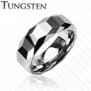 Wolfrámový prsteň - vysokolesklý s geometrickým vzorom - Veľkosť: 57 mm