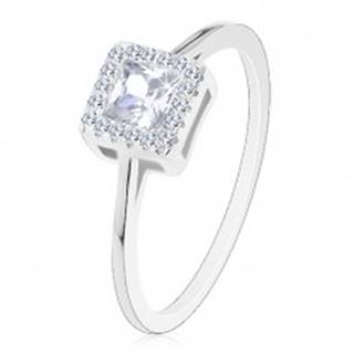 Zásnubný prsteň, striebro 925, číry zirkónový štvorec so zirkónovou obrubou - Veľkosť: 49 mm