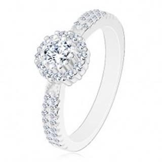 Zásnubný prsteň zo striebra 925, číry okrúhly zirkón s čírym lemom - Veľkosť: 48 mm
