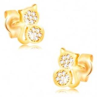 Zlaté náušnice 585 - mačka vykladaná čírymi zirkónmi, hladký okraj