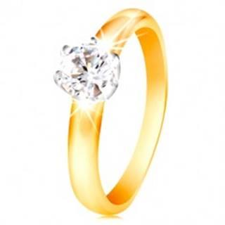 Zlatý 14K dvojfarebný prsteň - číry zirkón v šesťcípom kotlíku, vypuklé ramená - Veľkosť: 48 mm