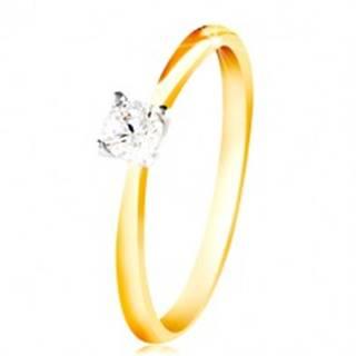 Zlatý 14K prsteň - tenké ramená, číry zirkón v kotlíku z bieleho zlata - Veľkosť: 48 mm
