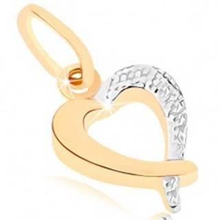 Zlatý prívesok 375 - ligotavá kontúra srdca, dvojfarebné prevedenie
