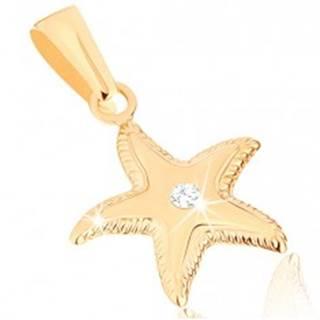 Zlatý prívesok 375 - ligotavá morská hviezdica, vrúbkovaný okraj, číry zirkónik