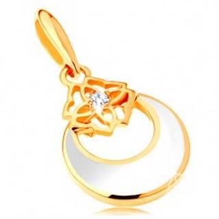 Zlatý prívesok 585 - kruh s výrezom a bielou glazúrou, ornament, zirkón