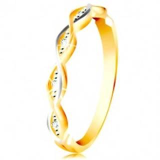 Zlatý prsteň 585 - dve tenké prepletené vlnky z bieleho a žltého zlata, zirkóny - Veľkosť: 49 mm
