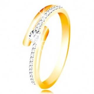 Zlatý prsteň 585 - rozdvojené ramená, vystúpený okrúhly zirkón čírej farby - Veľkosť: 49 mm