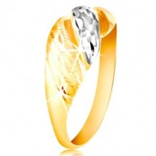 Zlatý prsteň 585 - vypuklé pásy žltého a bieleho zlata, ligotavé ryhy - Veľkosť: 48 mm