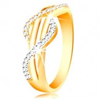 Zlatý prsteň 585 - zirkónové vlnky zo žltého a bieleho zlata, rovné hladké pásy - Veľkosť: 49 mm
