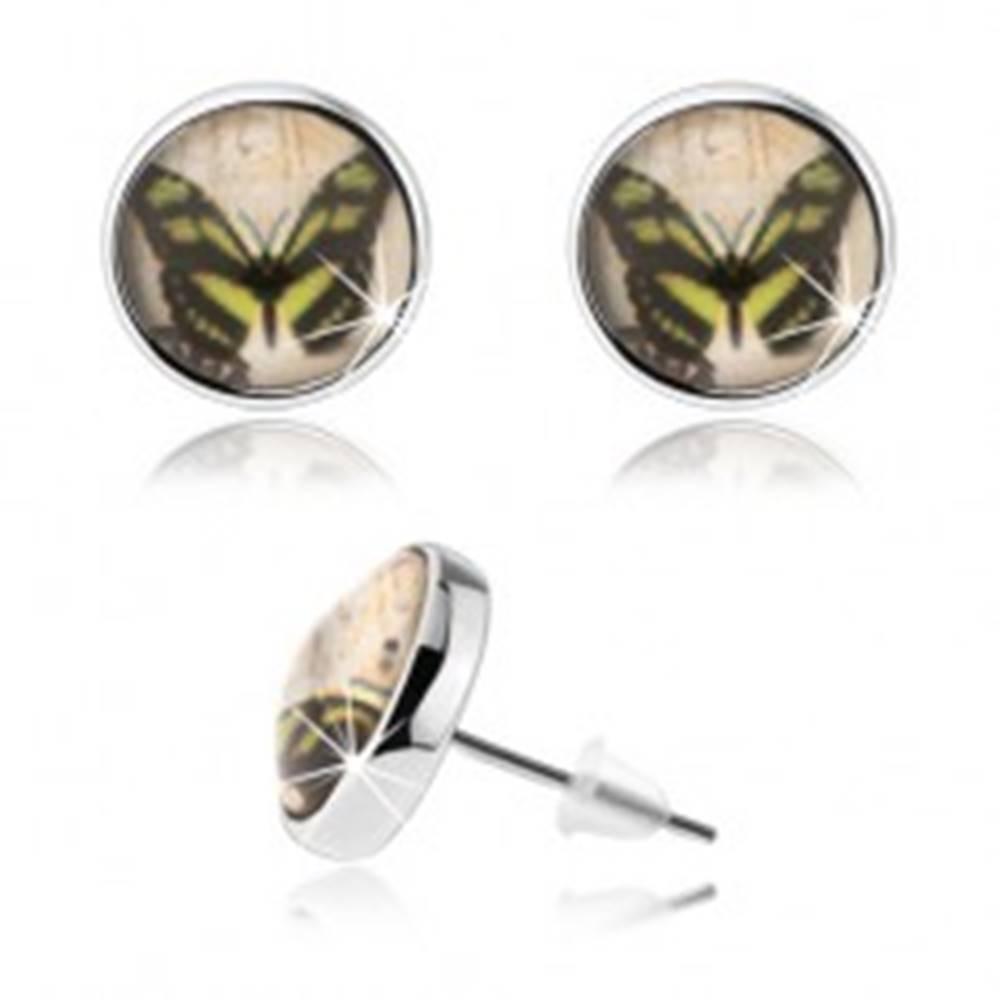 Šperky eshop Cabochon náušnice, číra glazúra, obrázok motýľa, puzetky