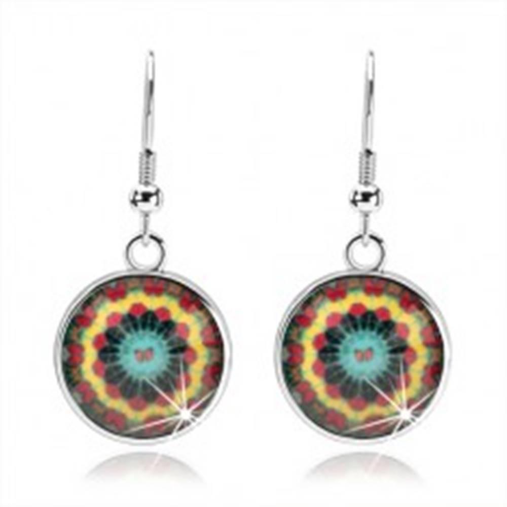 Šperky eshop Kabošon náušnice, číra glazúra, pestrofarebný kaleidoskop, motýliky