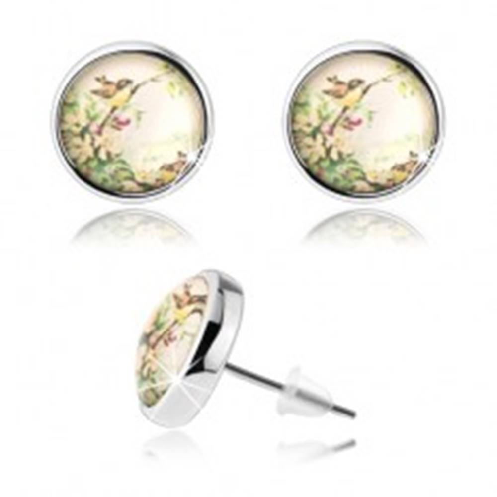 Šperky eshop Kabošon náušnice s čírou vypuklou glazúrou, dva malé vtáčiky, kvety