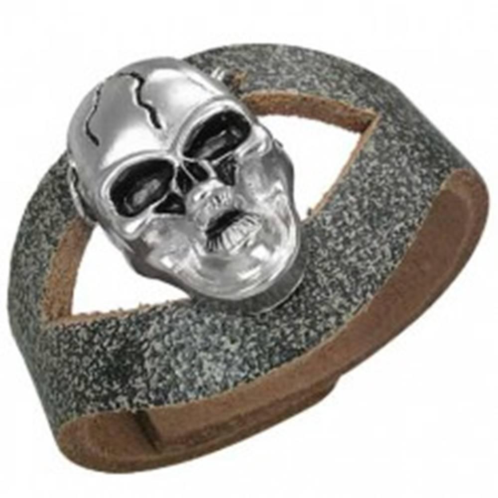 Šperky eshop Kožený náramok s lebkou s prasklinou a výrezom uprostred