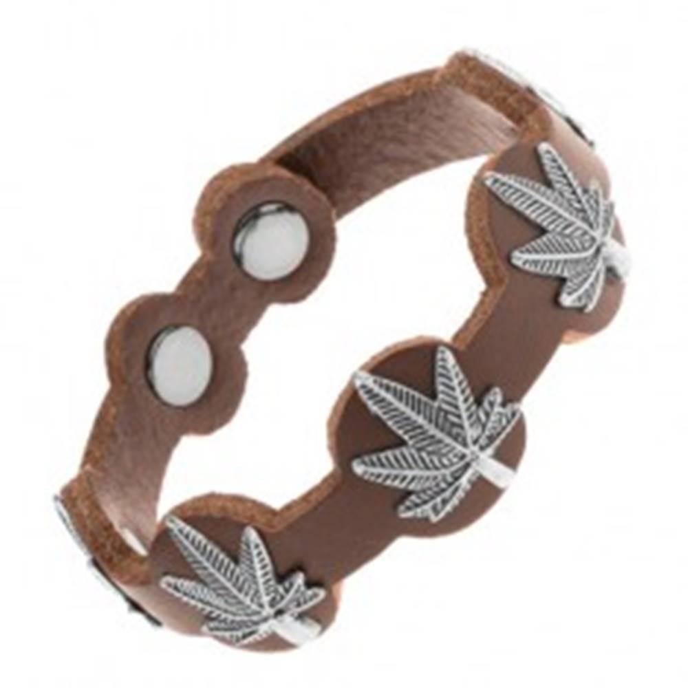Šperky eshop Kožený náramok tmavohnedej farby, patinované listy marihuany z ocele