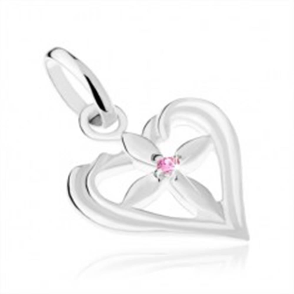 Šperky eshop Lesklý prívesok, striebro 925, ligotavý krížik v kontúre srdca, ružový zirkónik