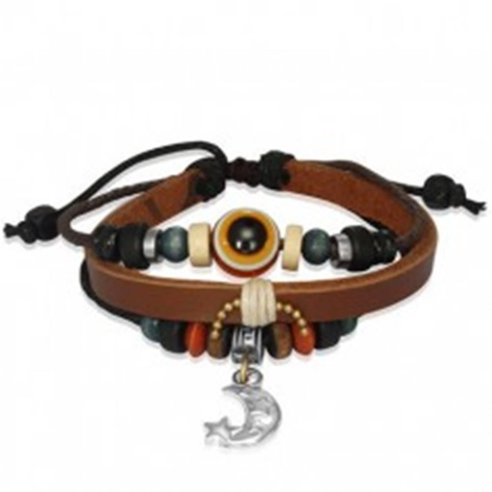 Šperky eshop Multi náramok z kože a šnúrok s guličkami a mesiačikom