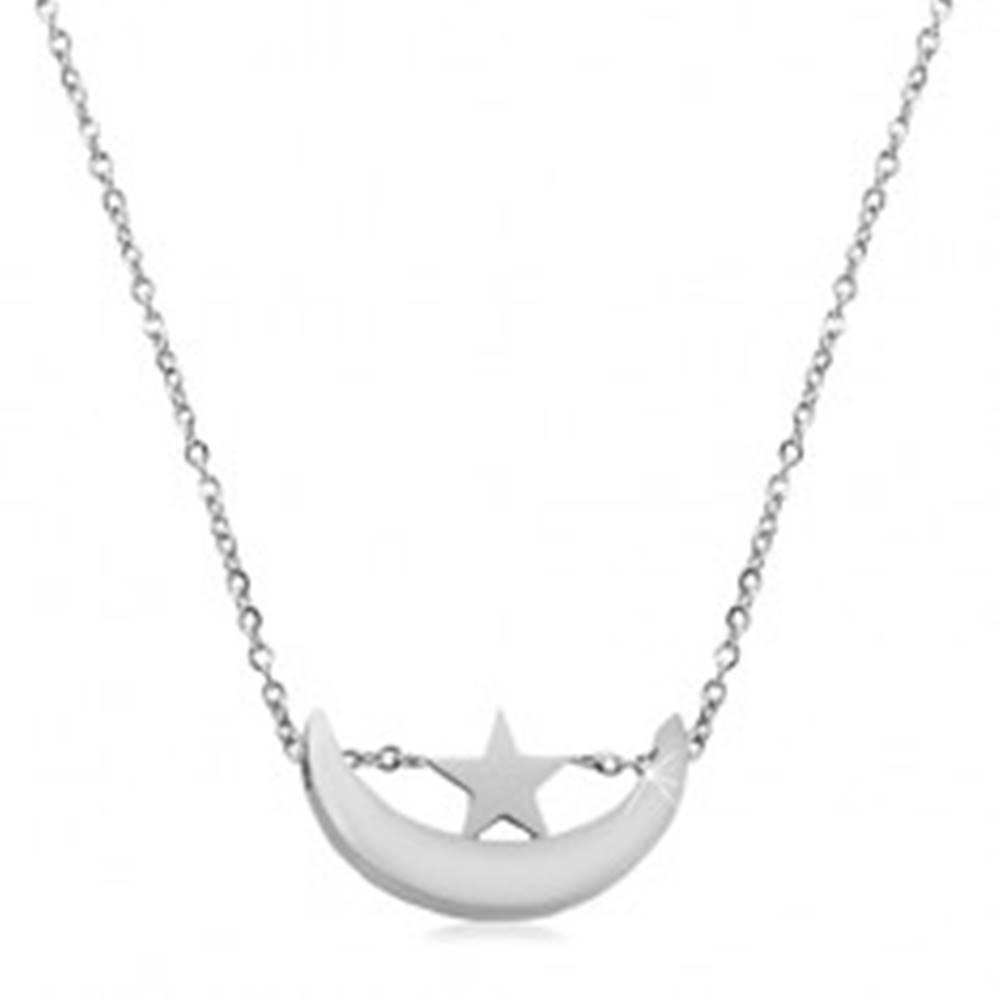 Šperky eshop Náhrdelník striebornej farby, chirurgická oceľ, lesklý cíp mesiaca a hviezdička