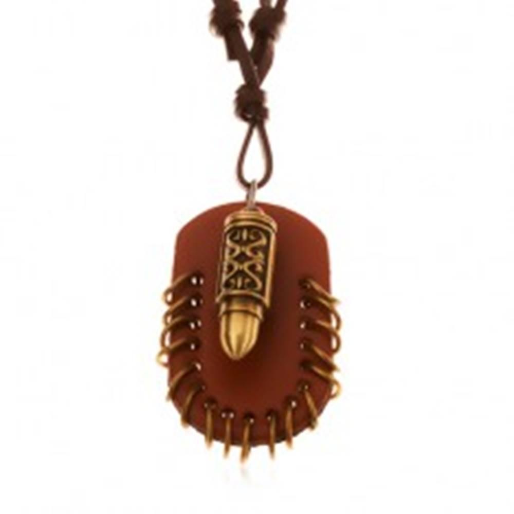 Šperky eshop Náhrdelník z umelej kože, prívesky - hnedý ovál s krúžkami a náboj