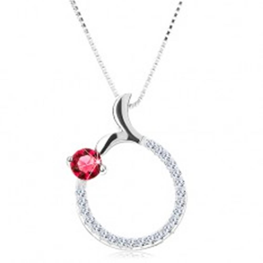 Šperky eshop Náhrdelník zo striebra 925, obrys kruhu, ružový zirkón, rybí chvost