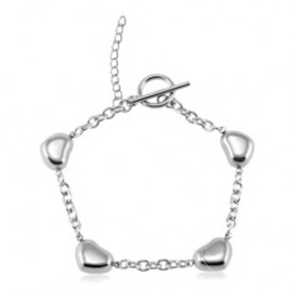 Šperky eshop Náramok z ocele 316L, štyri lesklé vypuklé srdiečka, strieborná farba