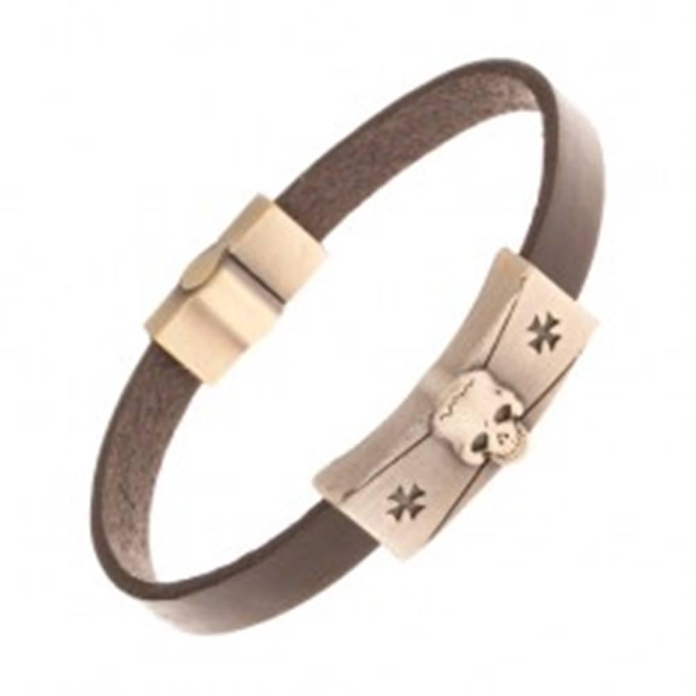 Šperky eshop Náramok z tmavohnedej syntetickej kože, lebka, maltézske kríže