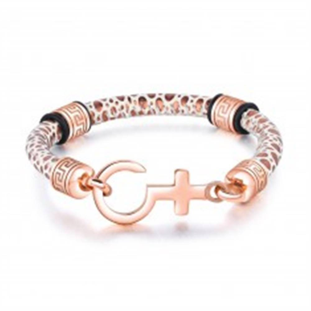 Šperky eshop Náramok z umelej kože, biely remienok s fľakmi medenej farby, grécky kľúč a kríž