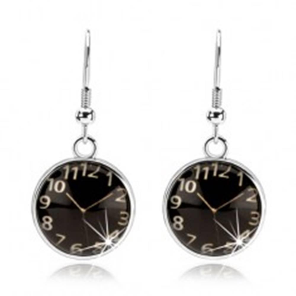 Šperky eshop Náušnice cabochon, vypuklé sklo, hodinky - čierny podklad, afroháčiky