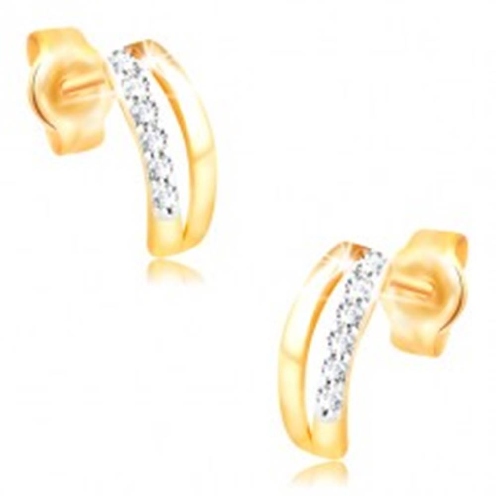 Šperky eshop Náušnice v 14K zlate - dva úzke oblúky, pás drobných zirkónov